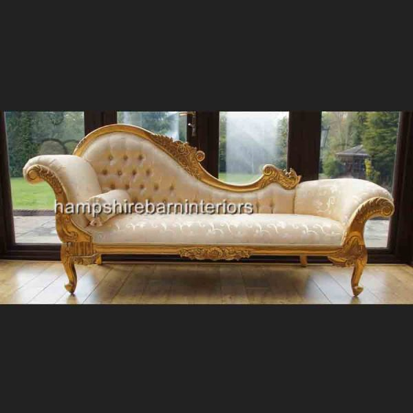 A Large Diamond Gold Leaf Hampshire Chaise Longue with cream2