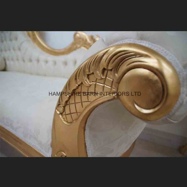 A Large Diamond Gold Leaf Hampshire Chaise Longue with cream4