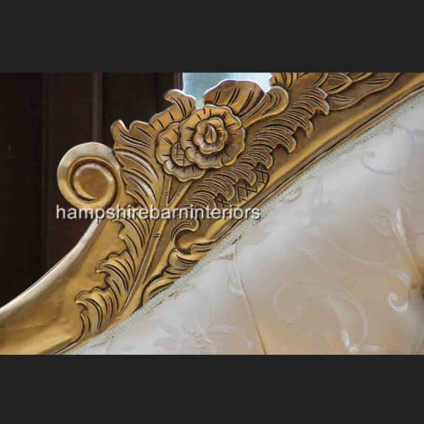 A Large Diamond Gold Leaf Hampshire Chaise Longue with cream8