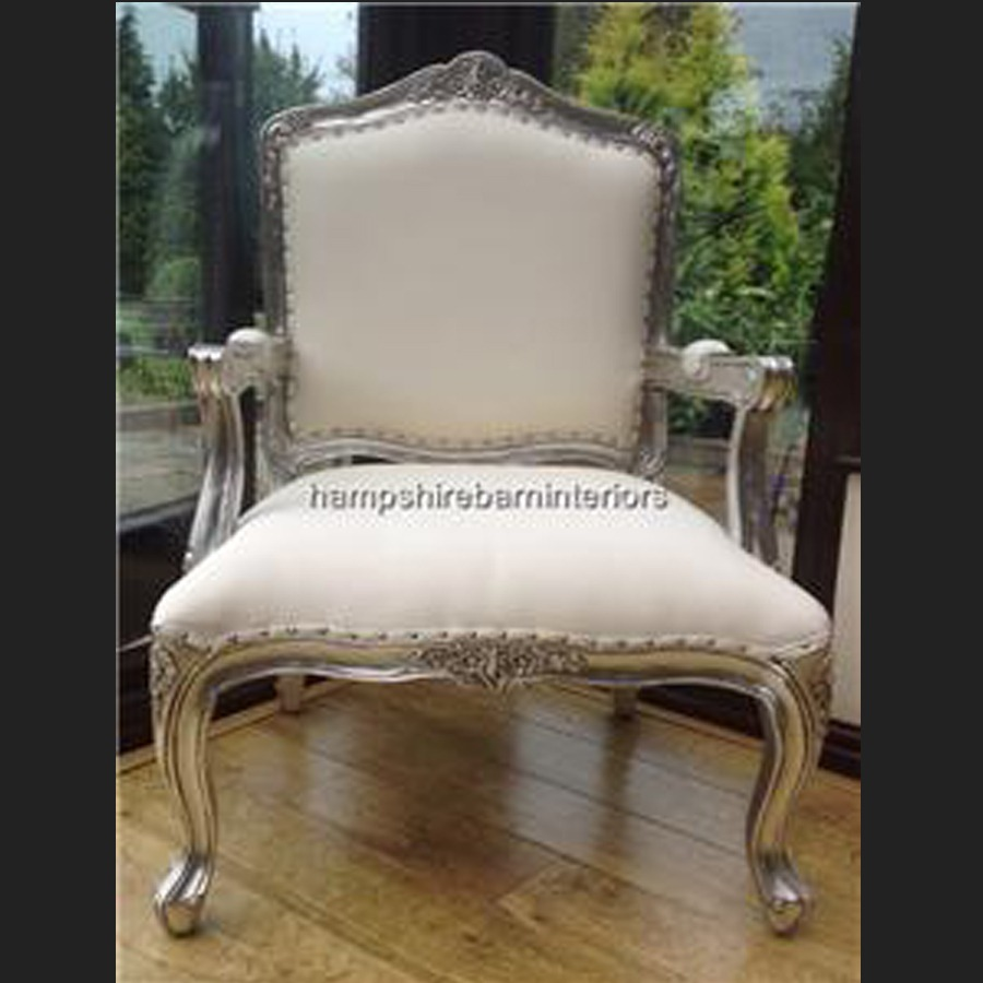 Outstanding A Large Louis French Chair In Silver Leaf And White Faux Leather Ibusinesslaw Wood Chair Design Ideas Ibusinesslaworg