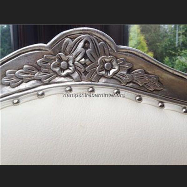 A Large Louis French Chair in SILVER leaf and WHITE FAUX LEATHER3