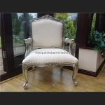A Large Louis French Chair in SILVER leaf and WHITE FAUX LEATHER5