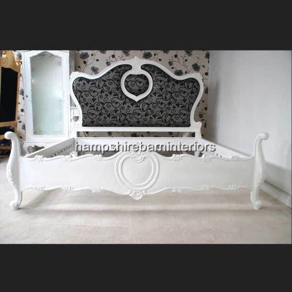 A MAYFAIR BED …shown in white frame with designer black & silver upholstered headboard1