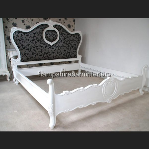 A MAYFAIR BED …shown in white frame with designer black & silver upholstered headboard3
