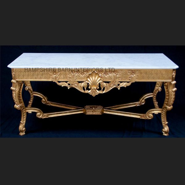 A Marlborough Console Table in Gold Leaf with White OR Black Marble1