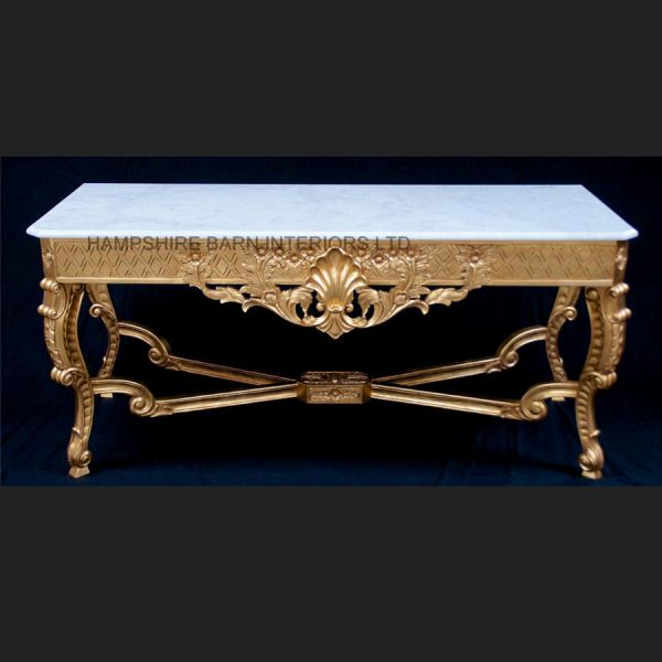 A Marlborough Console Table in Gold Leaf with White OR Black Marble4
