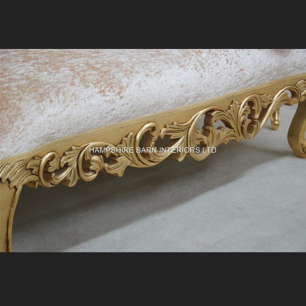 A Neoclassical Small Chaise Longue Sofa Ornate Gold Leaf frame with Cream Crushed Velvet (other colours available to order)2