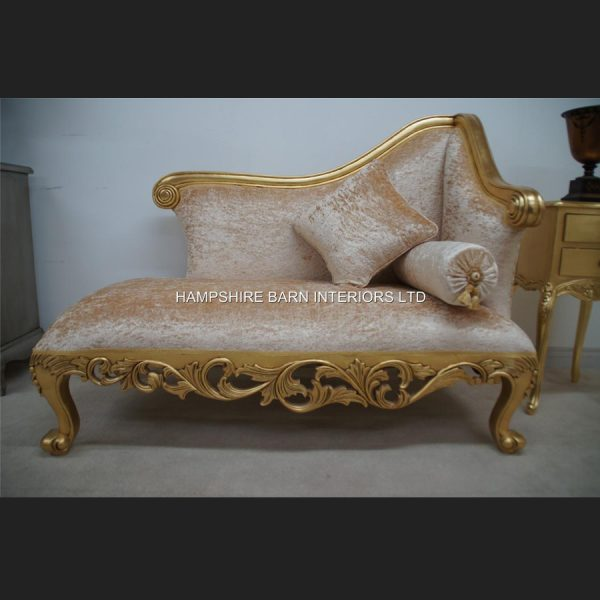 A Neoclassical Small Chaise Longue Sofa Ornate Gold Leaf frame with Cream Crushed Velvet (other colours available to order)3