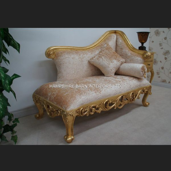 A Neoclassical Small Chaise Longue Sofa Ornate Gold Leaf frame with Cream Crushed Velvet (other colours available to order)4