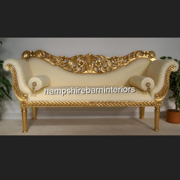 A PRIANKA 3 PIECE WEDDING SET (SOFA PLUS TWO CHAIRS) IN GOLD LEAF AND CREAM1