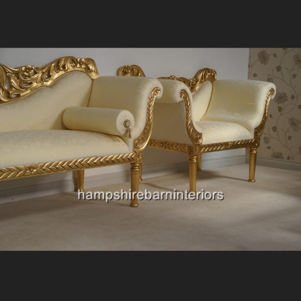 A PRIANKA 3 PIECE WEDDING SET (SOFA PLUS TWO CHAIRS) IN GOLD LEAF AND CREAM3