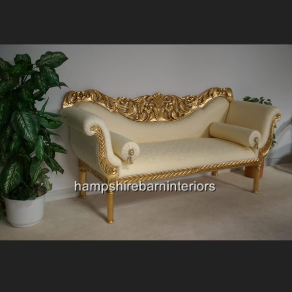 A PRIANKA 3 PIECE WEDDING SET (SOFA PLUS TWO CHAIRS) IN GOLD LEAF AND CREAM5