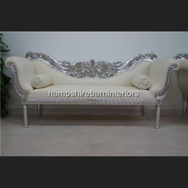 A PRIANKA 3 PIECE WEDDING SET (SOFA PLUS TWO CHAIRS) IN SILVER LEAF AND WHITE FAUX LEATHER1