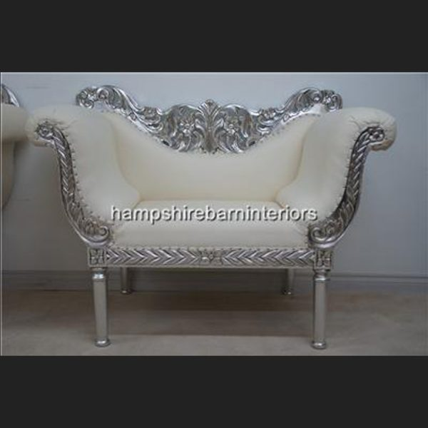 A PRIANKA 3 PIECE WEDDING SET (SOFA PLUS TWO CHAIRS) IN SILVER LEAF AND WHITE FAUX LEATHER2