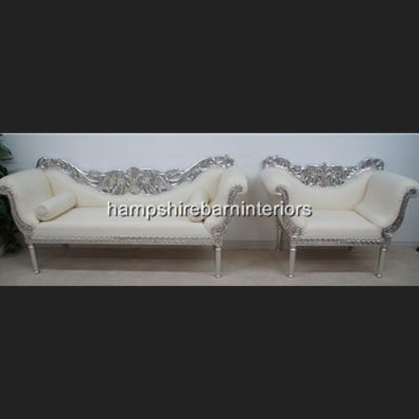 A PRIANKA 3 PIECE WEDDING SET (SOFA PLUS TWO CHAIRS) IN SILVER LEAF AND WHITE FAUX LEATHER3