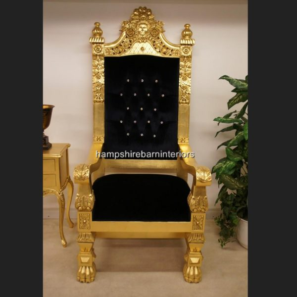 A QUEENS THRONE CHAIR..GOLD LEAF, BLACK VELVET AND DIAMOND CRYSTAL BUTTONS1