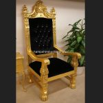 A QUEENS THRONE CHAIR..GOLD LEAF, BLACK VELVET AND DIAMOND CRYSTAL BUTTONS2