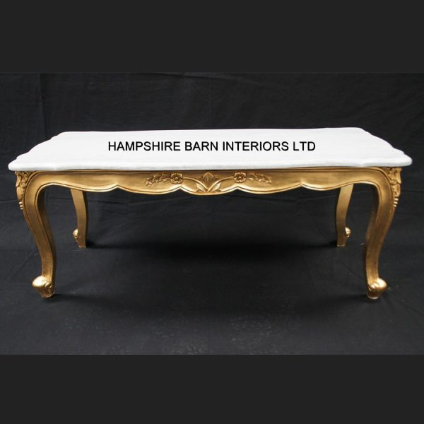 A RITZ GOLD LEAF ORNATE COFFEE TABLE WHITE MARBLE TOP FRENCH LOUIS STYLE1