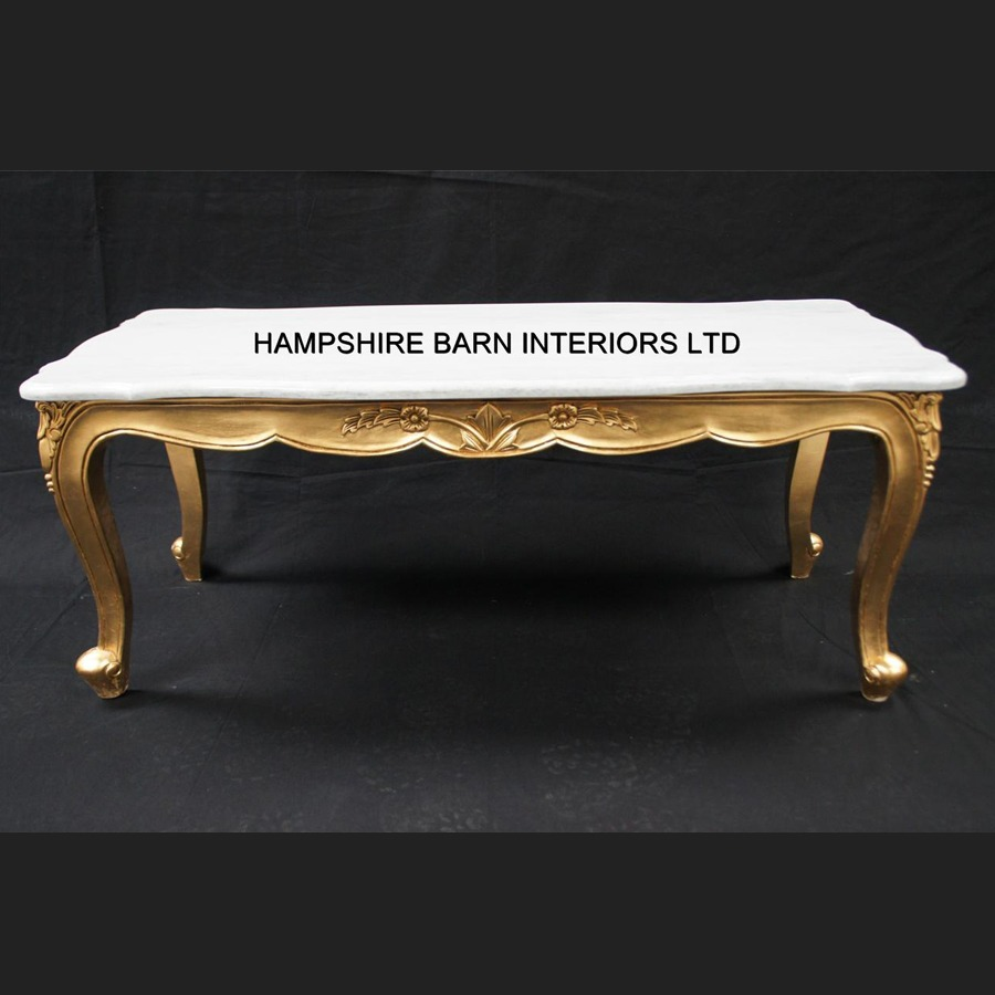 Marble Coffee Table Ornate: A RITZ GOLD LEAF ORNATE COFFEE TABLE WHITE MARBLE TOP