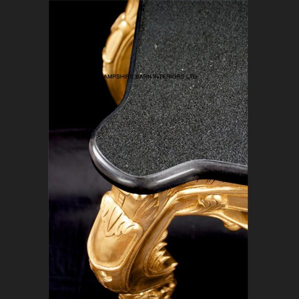 A RITZ GOLD LEAF ORNATE CONSOLE TABLE W BLACK MARBLE TOP DISPLAY ENTRANCE HALL3
