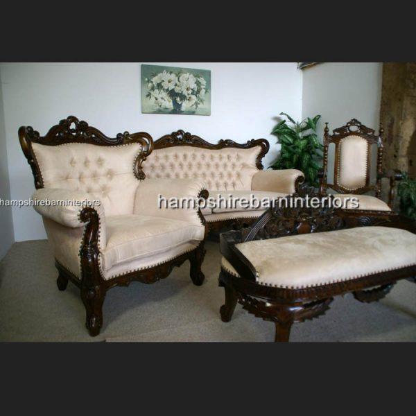 A Shaadi Sofa Set in Mahogany and Cream1