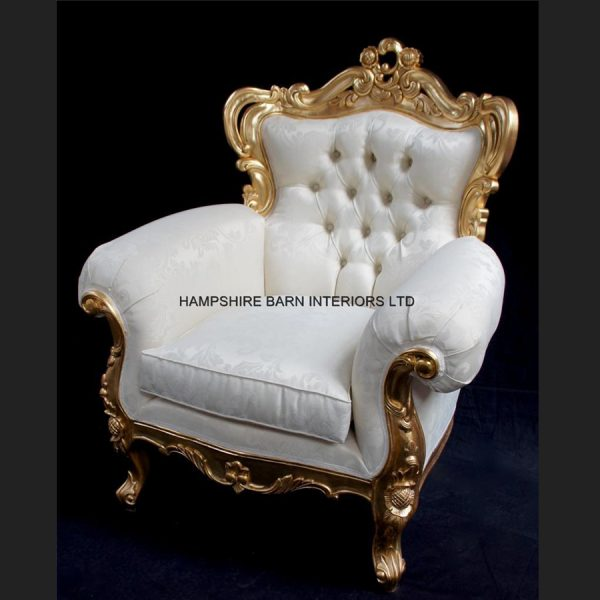 A Shaadi Sofa and Two armchairs in Gold and Cream2