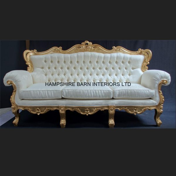 A Shaadi Sofa and Two armchairs in Gold and Cream3
