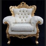 A Shaadi Sofa and Two armchairs in Gold and Cream4