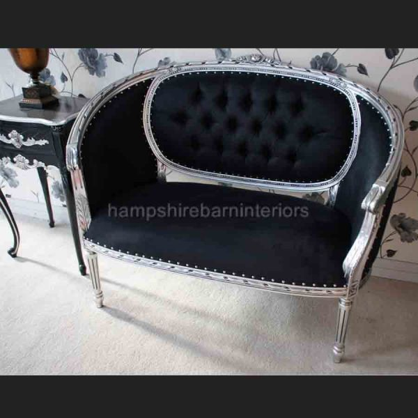 A Silver Leaf double ended Chaise longue Love Seat Small Sofa Black Fabric1