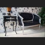 A Silver Leaf double ended Chaise longue Love Seat Small Sofa Black Fabric4