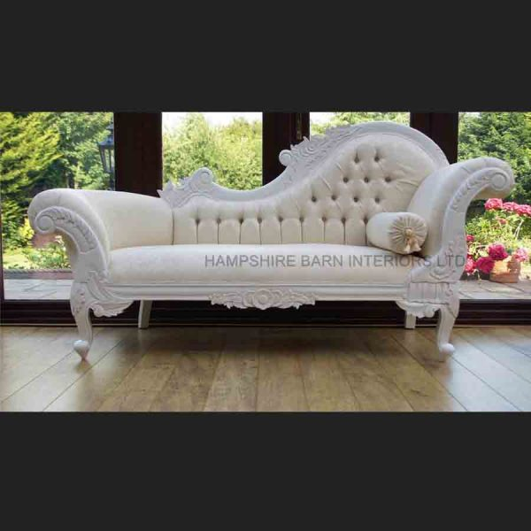 A a Antique White Ornate Medium Hampshire Chaise with ivory cream fabric with crystal buttoning1