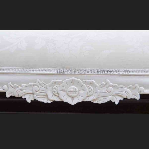 A a Antique White Ornate Medium Hampshire Chaise with ivory cream fabric with crystal buttoning2