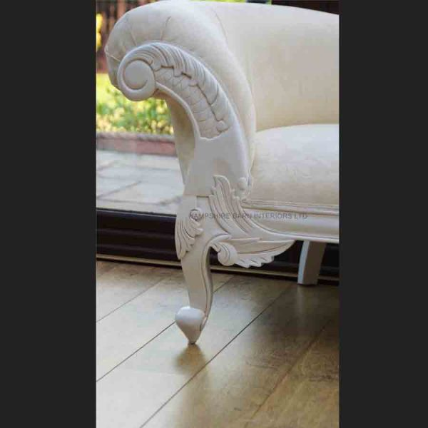 A a Antique White Ornate Medium Hampshire Chaise with ivory cream fabric with crystal buttoning3