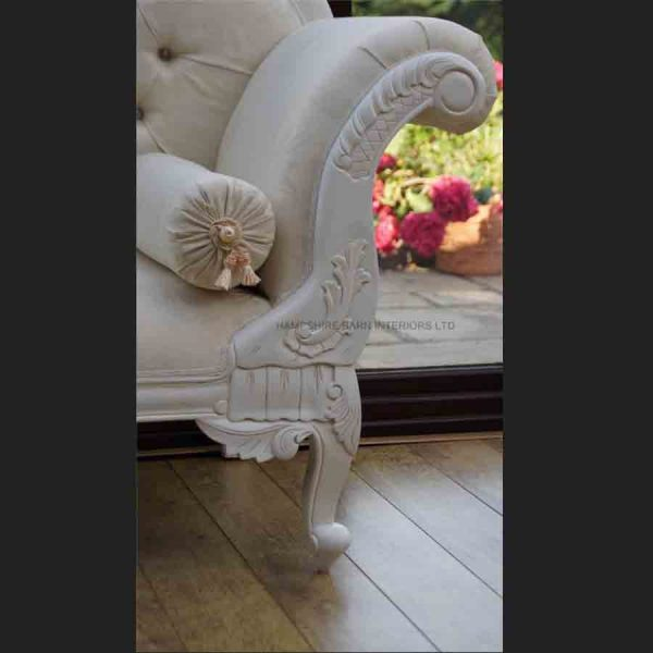A a Antique White Ornate Medium Hampshire Chaise with ivory cream fabric with crystal buttoning4
