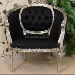 A black and SILVER LEAF salon tub arm chair (matching salon sofas available)1