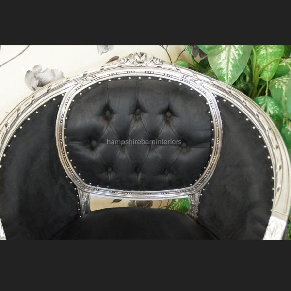 A black and SILVER LEAF salon tub arm chair (matching salon sofas available)4