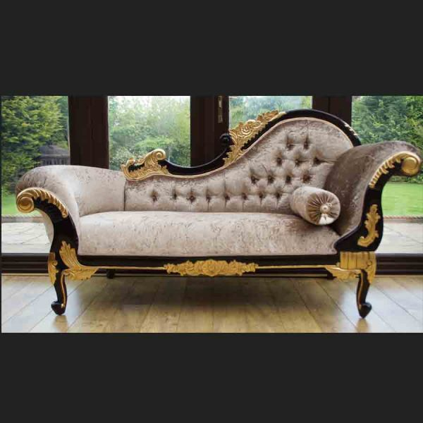 AA GOLD LEAF AND MAHOGANY HAMPSHIRE CHAISE MEDIUM SIZE shown in a mink coloured crushed velvet1