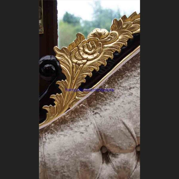 AA GOLD LEAF AND MAHOGANY HAMPSHIRE CHAISE MEDIUM SIZE shown in a mink coloured crushed velvet2