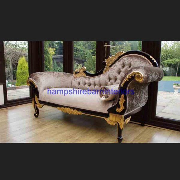 AA GOLD LEAF AND MAHOGANY HAMPSHIRE CHAISE MEDIUM SIZE shown in a mink coloured crushed velvet3