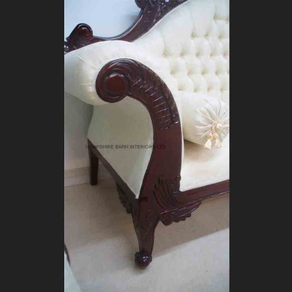 ANTIQUE REPLICA CHARLES LOUIS CUDDLER IN MAHOGANY WITH IVORY CREAM DAMASK3