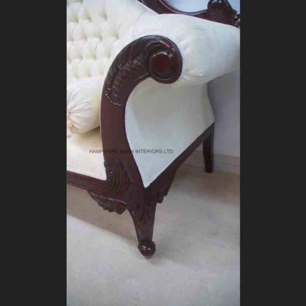 ANTIQUE REPLICA CHARLES LOUIS CUDDLER IN MAHOGANY WITH IVORY CREAM DAMASK5