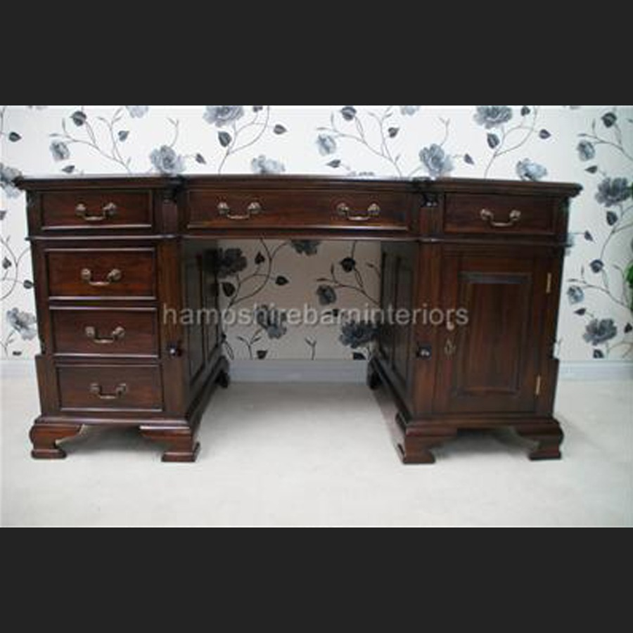 ANTIQUE REPRODUCTION GEORGIAN MAHOGANY DESK 5FT WIDE with cupboard one side  ... - ANTIQUE REPRODUCTION GEORGIAN MAHOGANY DESK 5FT WIDE With Cupboard