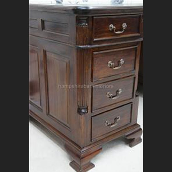 ANTIQUE REPRODUCTION GEORGIAN MAHOGANY DESK 5FT WIDE with cupboard one side5