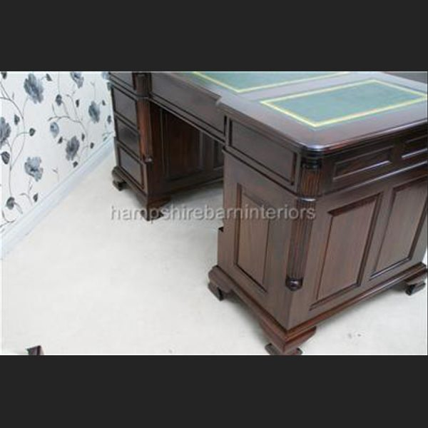 ANTIQUE REPRODUCTION GEORGIAN MAHOGANY DESK 5FT WIDE with cupboard one side6