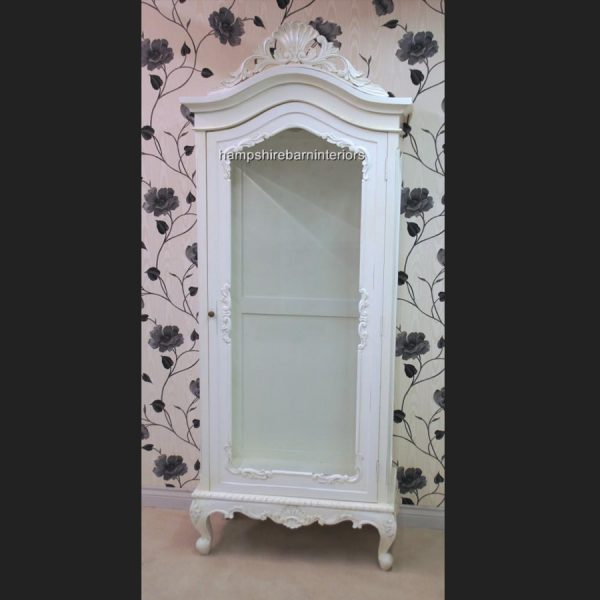 ANTIQUE WHITE DISPLAY CABINET LOUIS STYLE WALL UNIT DISPLAY CABINET FRENCH STYLE CHIC DISTRESSED PAINTED1