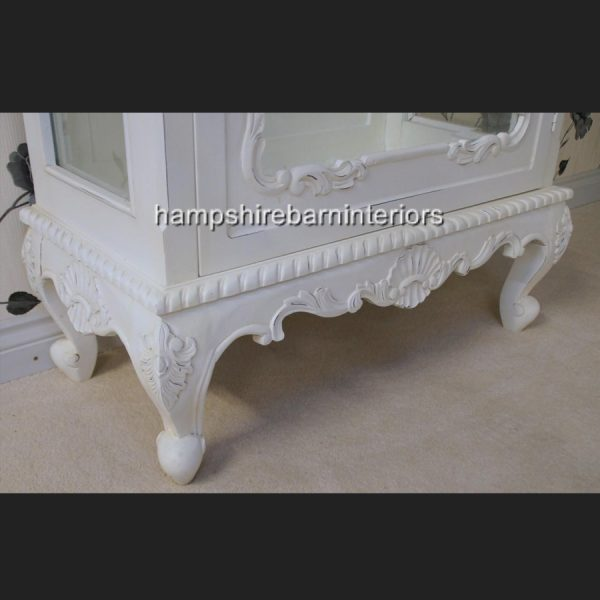 ANTIQUE WHITE DISPLAY CABINET LOUIS STYLE WALL UNIT DISPLAY CABINET FRENCH STYLE CHIC DISTRESSED PAINTED2