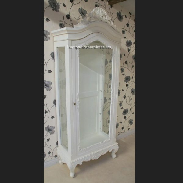 ANTIQUE WHITE DISPLAY CABINET LOUIS STYLE WALL UNIT DISPLAY CABINET FRENCH STYLE CHIC DISTRESSED PAINTED5