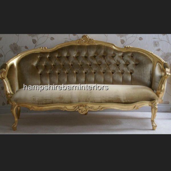 ASCOT three piece salon set (sofa plus two armchairs) shown in gold leaf with gold velvet)