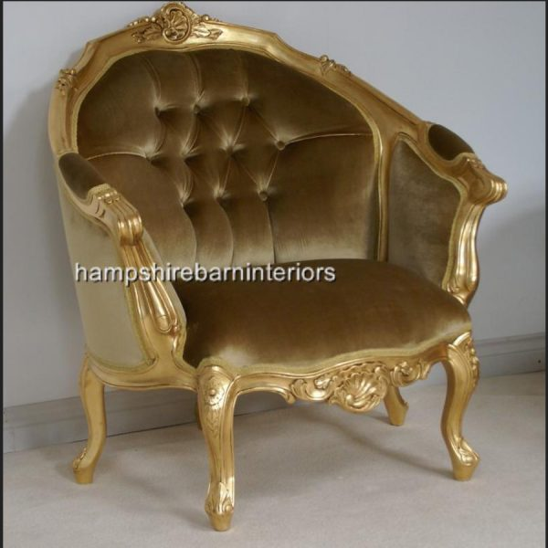 ASCOT three piece salon set (sofa plus two armchairs) shown in gold leaf with gold velvet)2