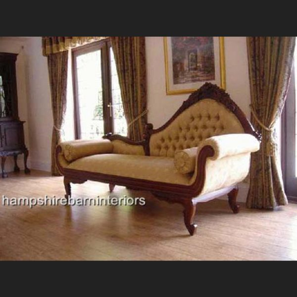 Amberley Chaise Longue (Large) in Mahogany Frame and Gold Fabric